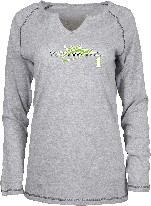 Premium Heather//Checkered Stripe Ouray Sportswear NASCAR Womens W Groove L//S T Kurt Busch X-Large