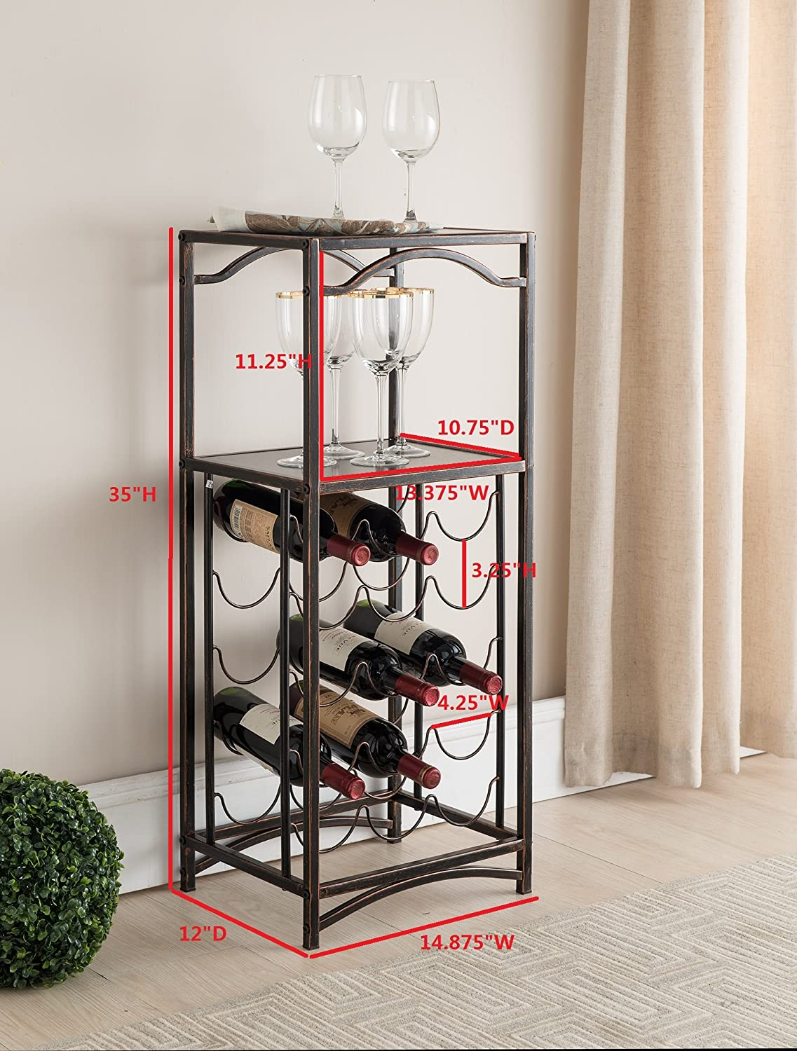 Kings Brand Furniture – Metal 15 Bottle Floor Wine Rack Storage Organizer