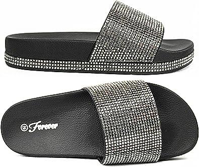 Black,4 Link Girls Rhinestone Soft Insole T-Strap Sandals