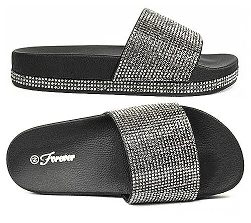 40f1d0eb650c06 Forever Link Viste-07 Rhinestone Glitter Slide Slip On Flatform Footbed Sandal  Slippers