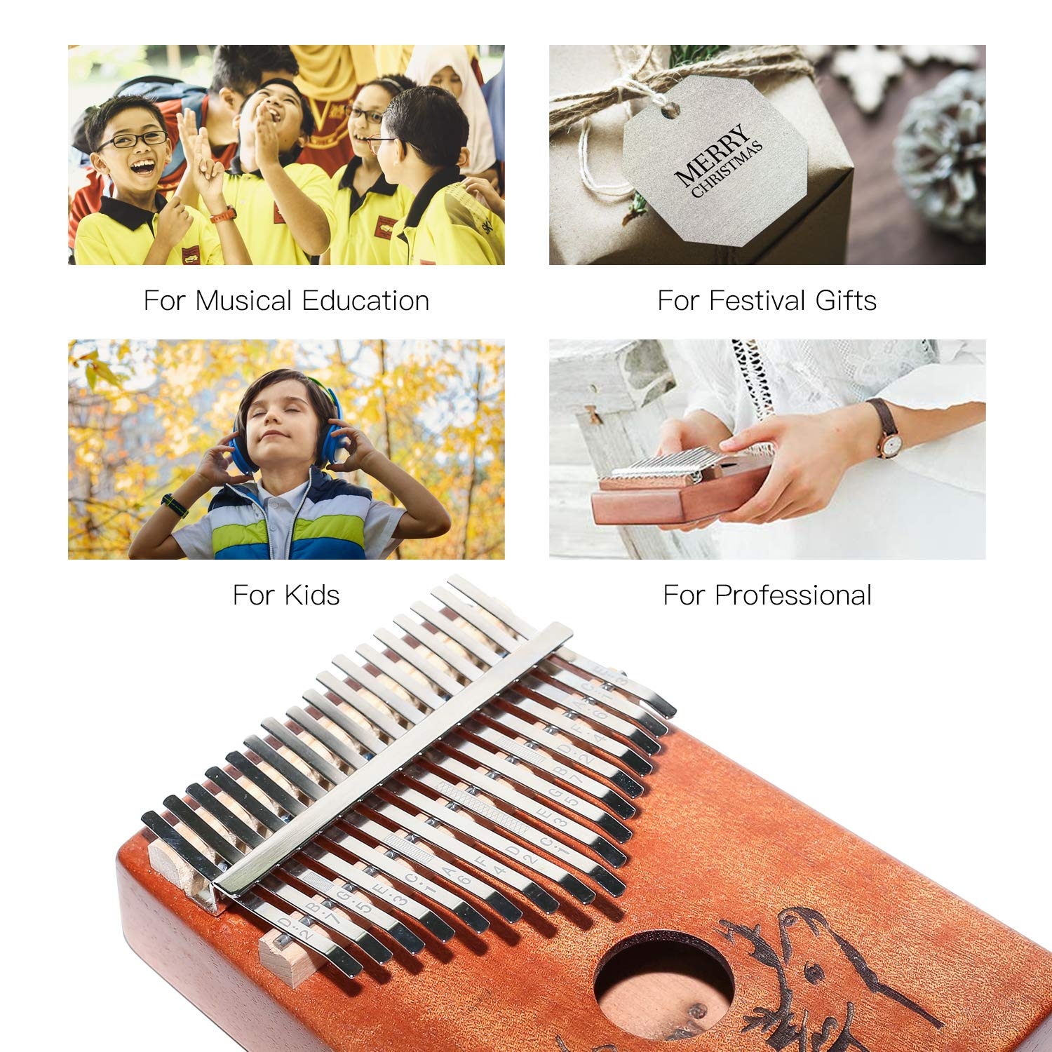 AECCN Kalimba 17 Keys Thumb Piano - Pocket Size With Study Instruction and Tune-Hammer & Simple Sheet Music, Christmas Day Birthday Gifts Idea for Kids Adults Beginners, Professionals (Deer) by AECCN (Image #6)