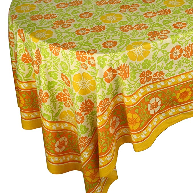 Tablecloth rectangle Yellow and Orange Floral 100% cotton 60x90 inch Garden & Outdoor Furniture at amazon