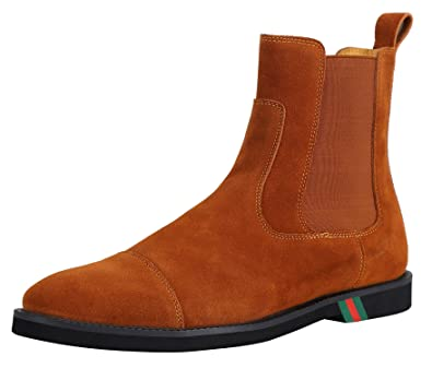 2cbbd4c142bfd9 Santimon Mens Chelsea Boots Dress Leather Suede Comfortable Classic Simple  Slip on Brown 5.5 D(