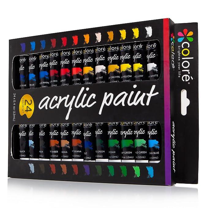 Set de Pinturas Acrílicas Colore – Perfecto para pintar en canvas, arcilla, tejidos, uñas y cerámica – Altamente pigmentadas con Calidad Duradera – 24 ...