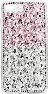 غطاء رينبو يدوي الصنع للزجاج لاجهزة ابل ايفون 7 بلس و 8 بلس - بينك