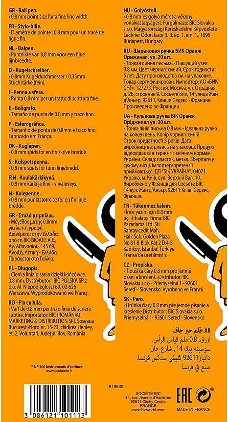 Tinta Negra - Bl/íster de 1 Unidad 0,8 mm 4 Fluo bol/ígrafos Retr/áctiles Rojo y Amarillo Fluorescente Bl/íster de 1 Unidad BIC 4 Original Fine bol/ígrafos Retr/áctiles punta fina Azul