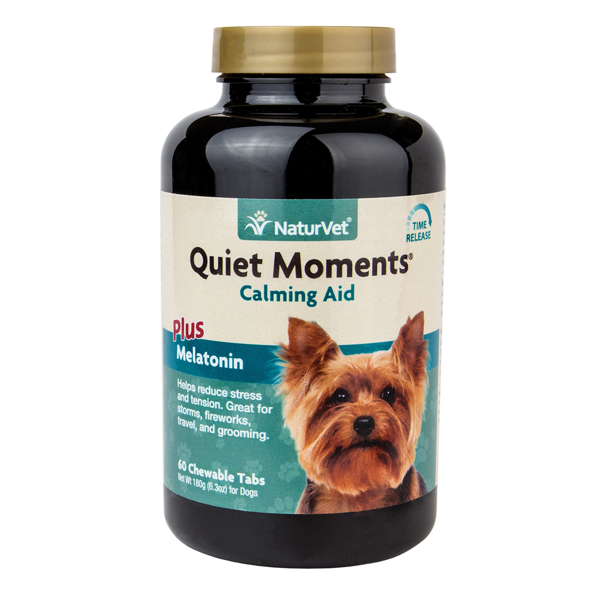 Quiet Moments Calming Aid Supplement Tablets for Dogs, Reduce Stress and Anxiety with this Veterinarian formulated calming supplement by NaturVet 60 count