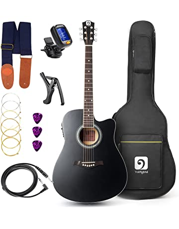 Vangoa - 41 inch Full-Size Black VG-41ECBK Acoustic Electric Cutaway Guitar with