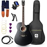 Vangoa - 41 inch Full-Size Black VG-41ECBK Acoustic Electric Cutaway Guitar with Guitar Gig Bag, Strap, Tuner, String, Picks, Capo