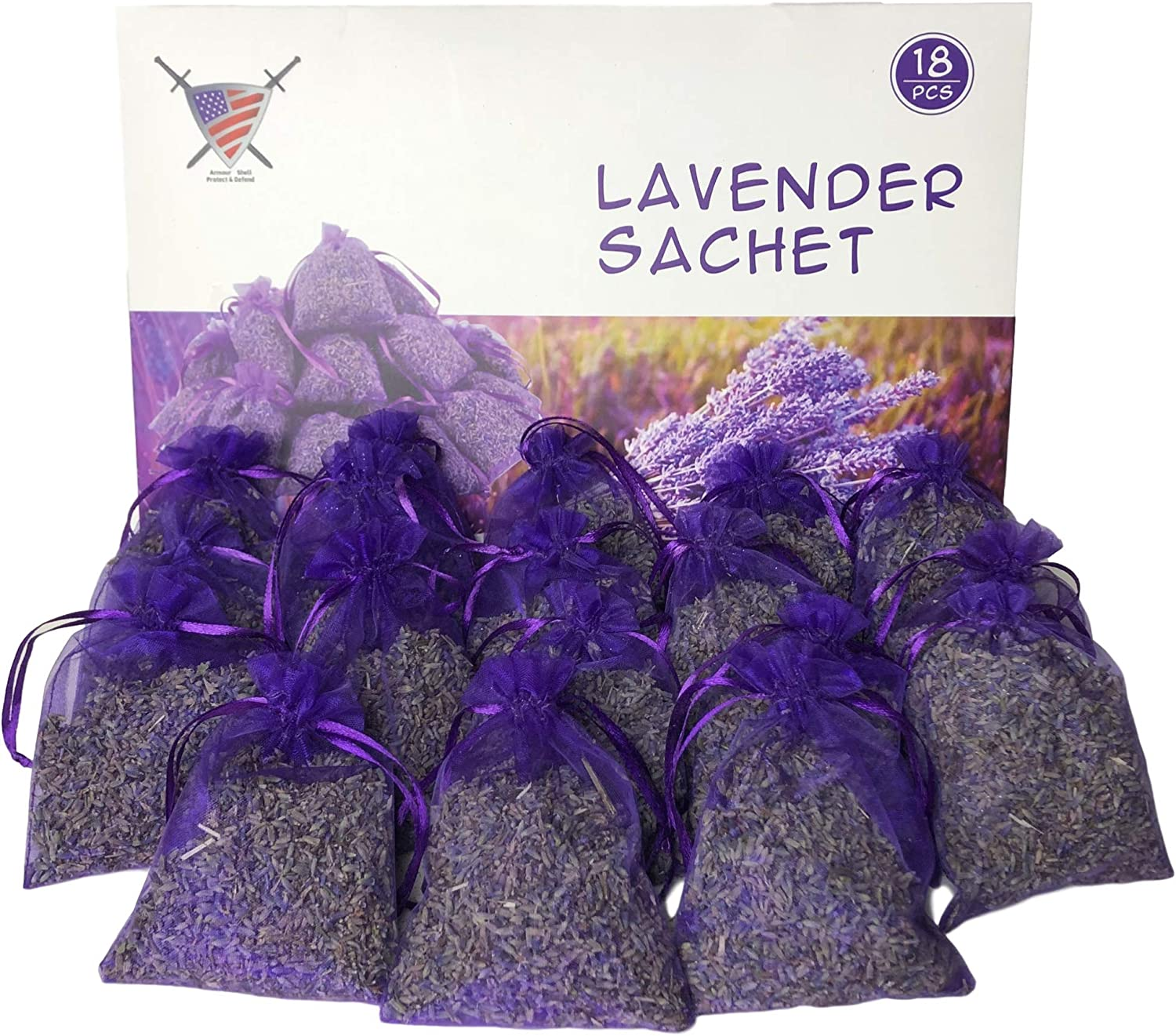 Lavender Sachets Moth Repellant - Dried Lavendar Flower Sachet Bags (18 Pack) for Home Fragrance and Long-Lasting Fresh Scents, Natural Moths Repellent for Clothes Closets. Protect & Defend Clothing.