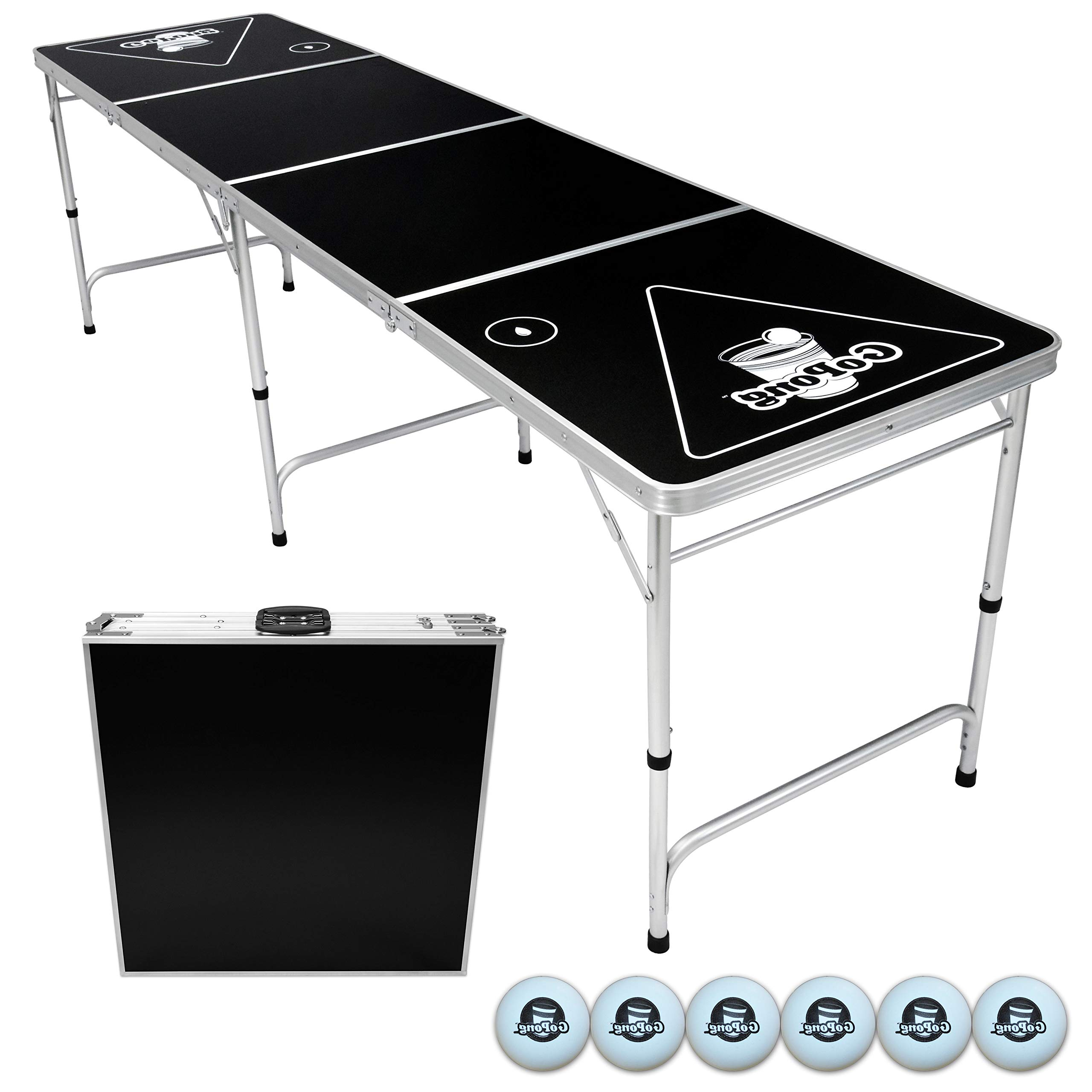 HealthyBells Portable Folding Beer Pong/Flip Cup Table, 6 Balls Included