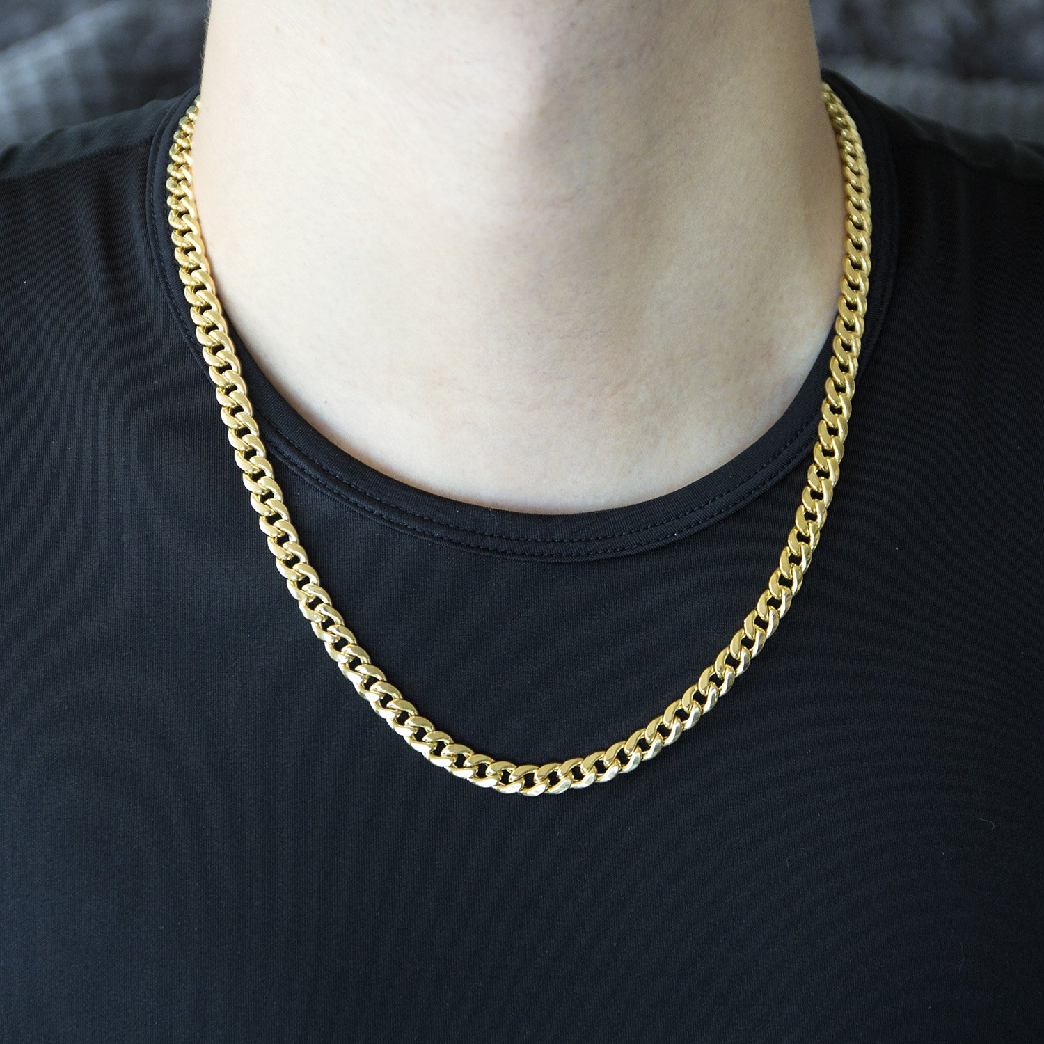cuban heavy solid filled necklace gold gf link chain yellow mens l