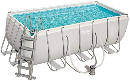 Bestway 56456 Power Steel Rectangular Pool 412 x 201 x 122 cm, Marco de Acero