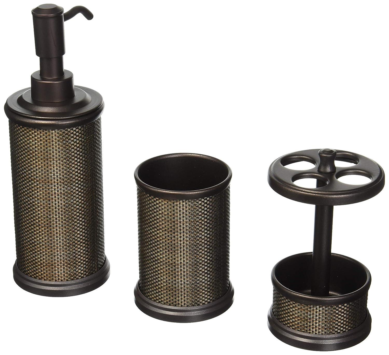 mDesign 3er-Set Badaccessoires aus Metall – inkl. Seifenspender, Zahnputzbecher und Zahnbürstenhalter – Badgarnitur für den Waschtisch – bronze MetroDecor FBA_3739MDBA