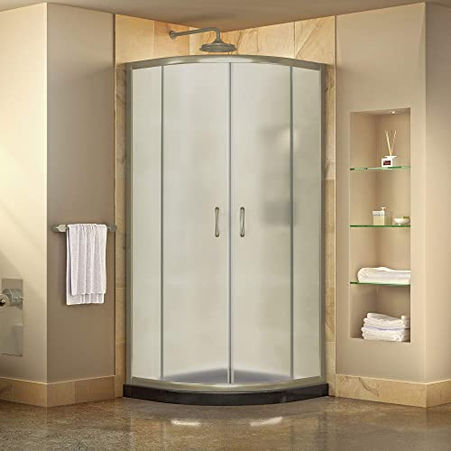 DreamLine Prime 36 in. x 74 3 4 in. Semi-Frameless Frosted Glass Sliding Shower Enclosure in Brushed Nickel with Black Base Kit, DL-6702-89-04FR