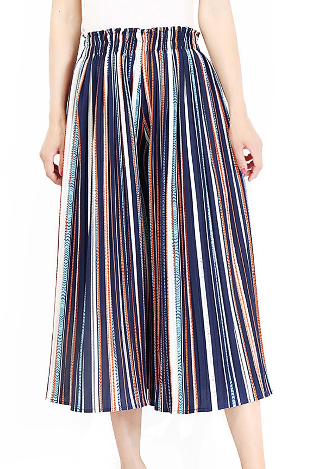 FEOYA Womens Strips Wide Leg Pants Casual Light Palazzo Pants Chic Comfy Strips Elastic High Waist Trouser Pants for Women Large - Blue