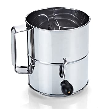 amazon com cook n home stainless steel 8 cup flour sifter kitchen rh amazon com