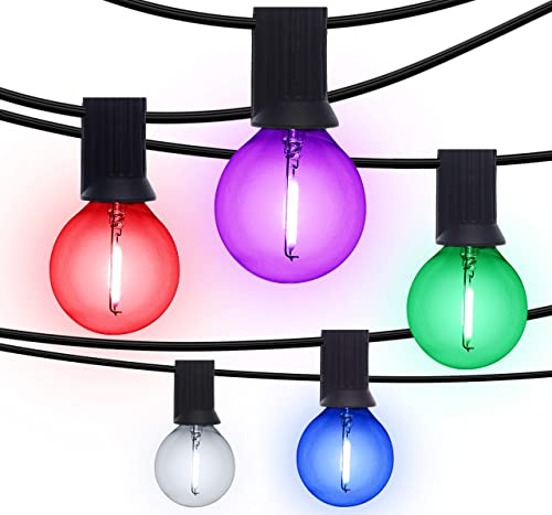 Otronics 50 Ft Color G40 LED Outdoor Globe String Lights with 50 Clear Colors Edison Glass Bulbs – Hanging Indoor Outdoor String Lights – Waterproof Patio Lights Create Cafe Ambience On Your Balcony