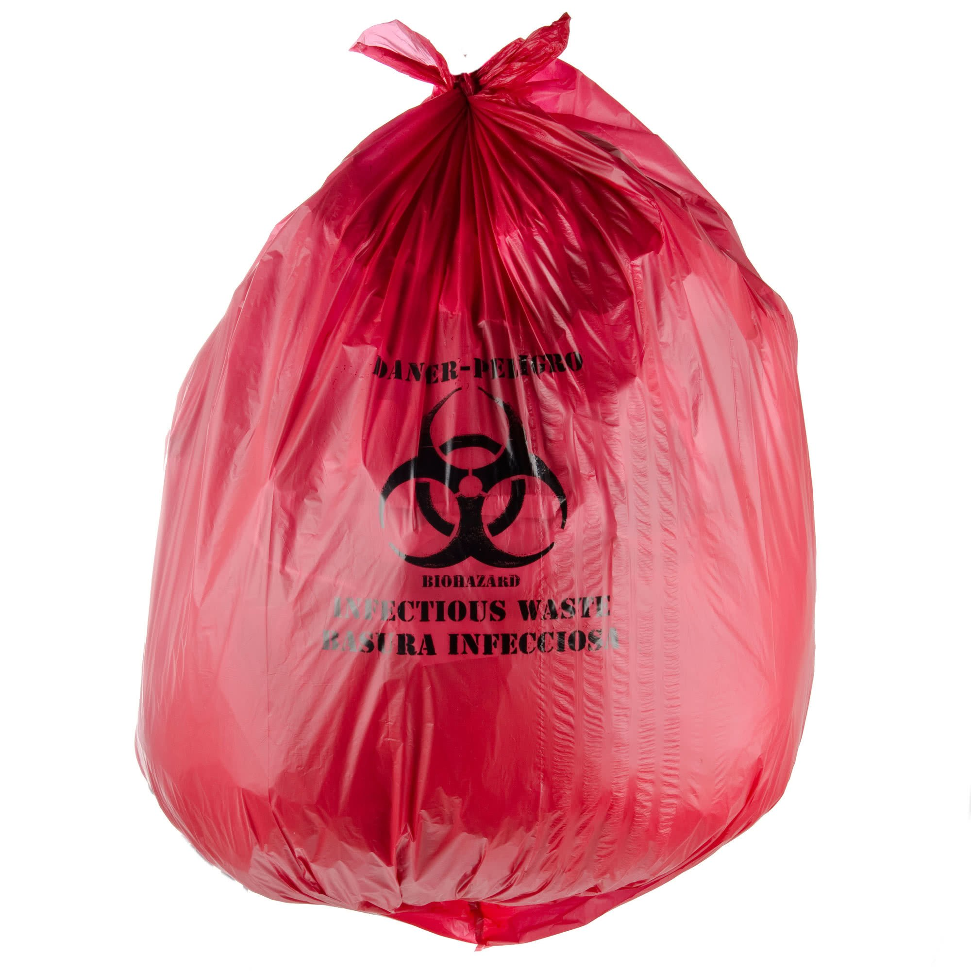 Red Isolation Infectious Waste Bag / Biohazard Bag High Density 17 Microns - 200/Case 40-45 Gallon 40'' x 48'' By TableTop King