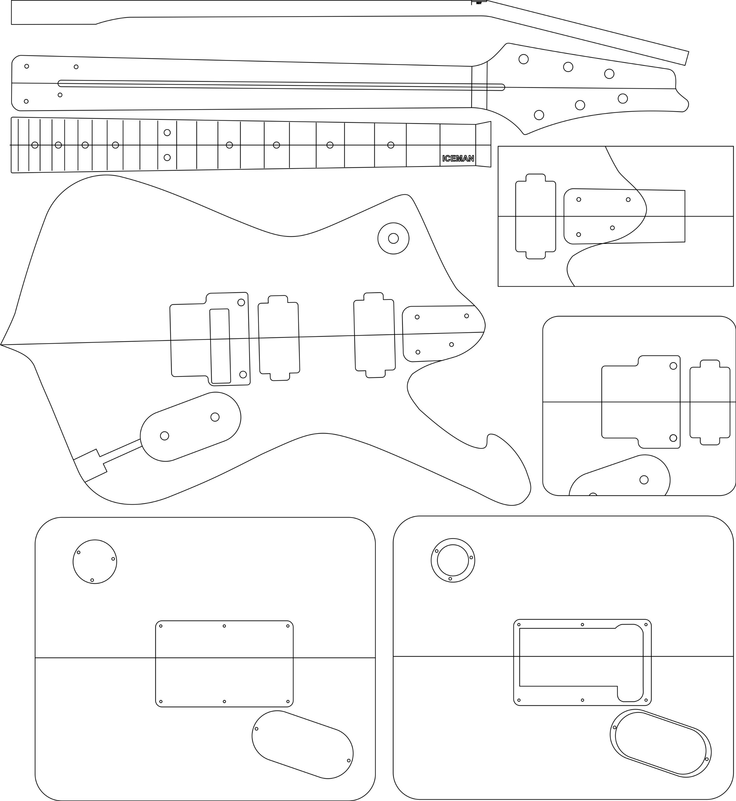 Electric Guitar Layout Template - Iceman