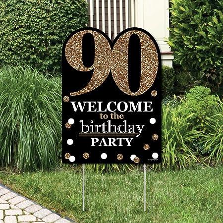 Amazon.com: Adultos 90th Cumpleaños – Oro – Decoraciones de ...