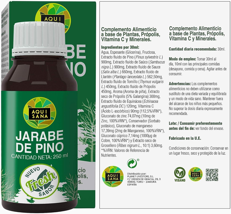 Jarabe de Pino|Complemento Alimenticio con Vitamina C, Propóleo y Minerales|Ayuda a nuestras defensas|Alivia los Síntomas de la Tos |100% Natural|250ml: Amazon.es: Salud y cuidado personal