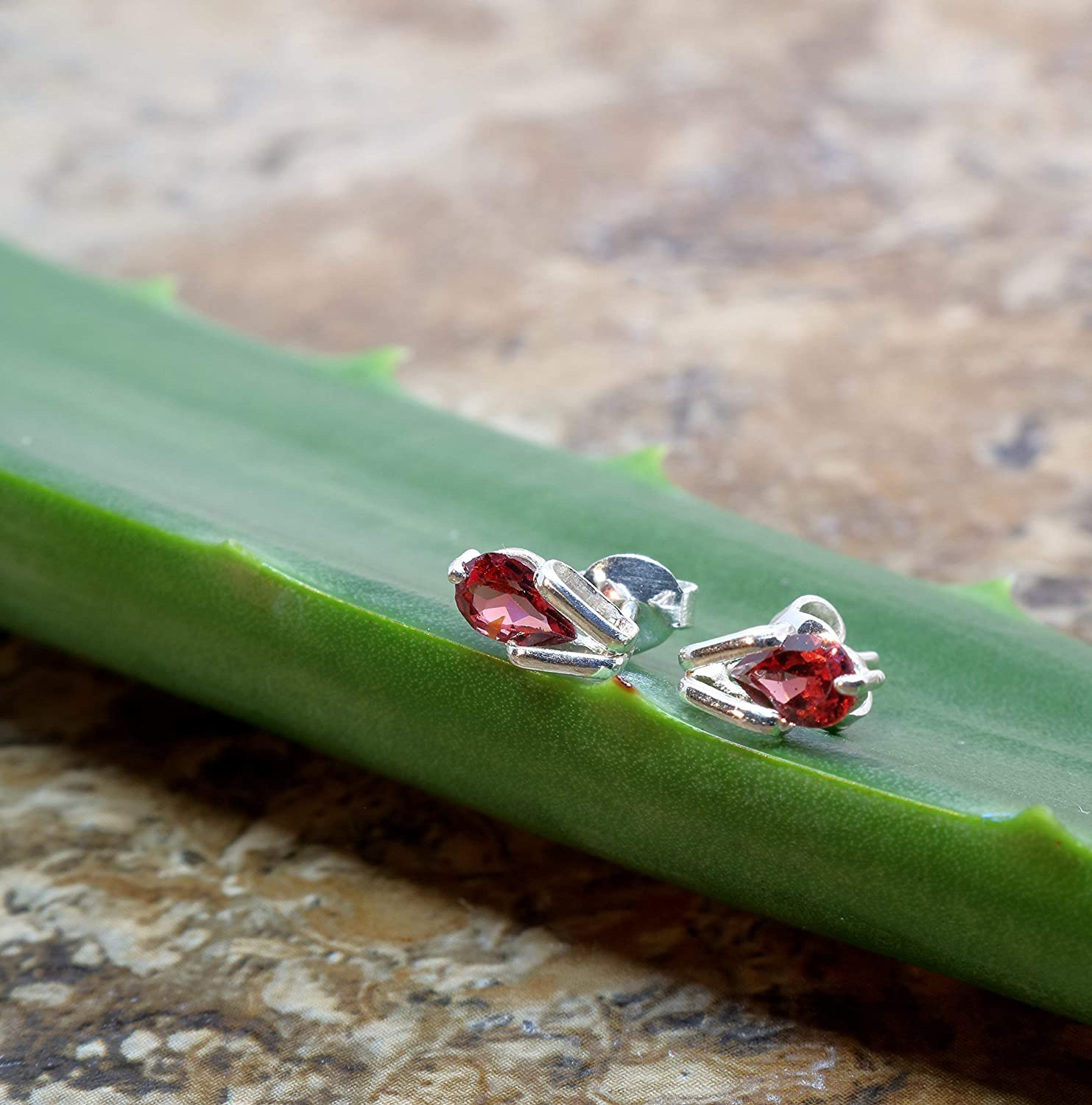 Sterling Silver Handmade Tear Drop Stud Earring with a Natural Garnet Gemstone For Wife for Girlfriend for Sister for Her