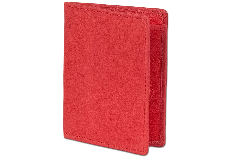 Rimbaldi D/étenteur de la carte la carte didentit/é//de cr/édit Premium pour 6 cartes de cr/édit et 4 passes de cuir souple de veau trait/ée
