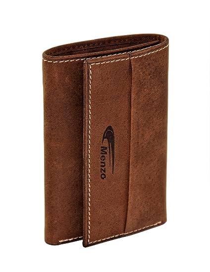 Menzo Estuche de llaves de auténtico cuero de búfalo para 6 llaves, compartimento para tarjetas de crédito, monedas y billetes, cartera-llavero, ...