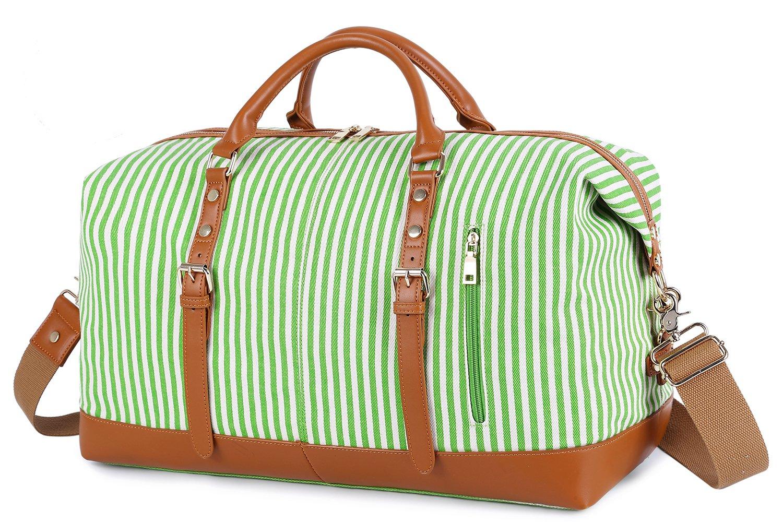 EverVanz Oversized Travel Duffel Bag Canvas Leather Trim Overnight Bag Sport Duffel Shoulder Handbag Large Unisex Weekend Bag