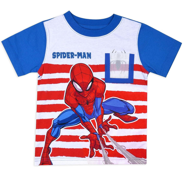 Spiderman Toddler Little Boys Spider-Man Web Pocket Contrast Sleeve Shirt