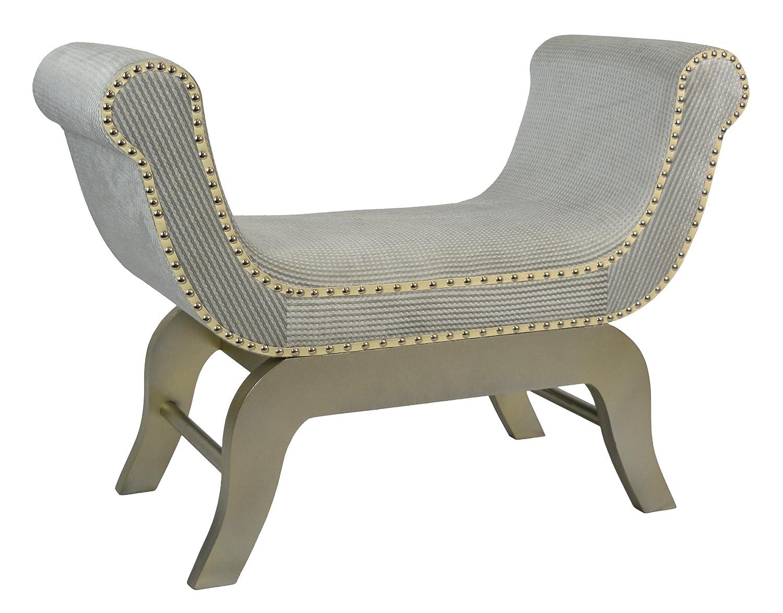 ts-ideen GmbH Divanetto imbottito stile Orientale in legno di abete rivestito in lino 100%