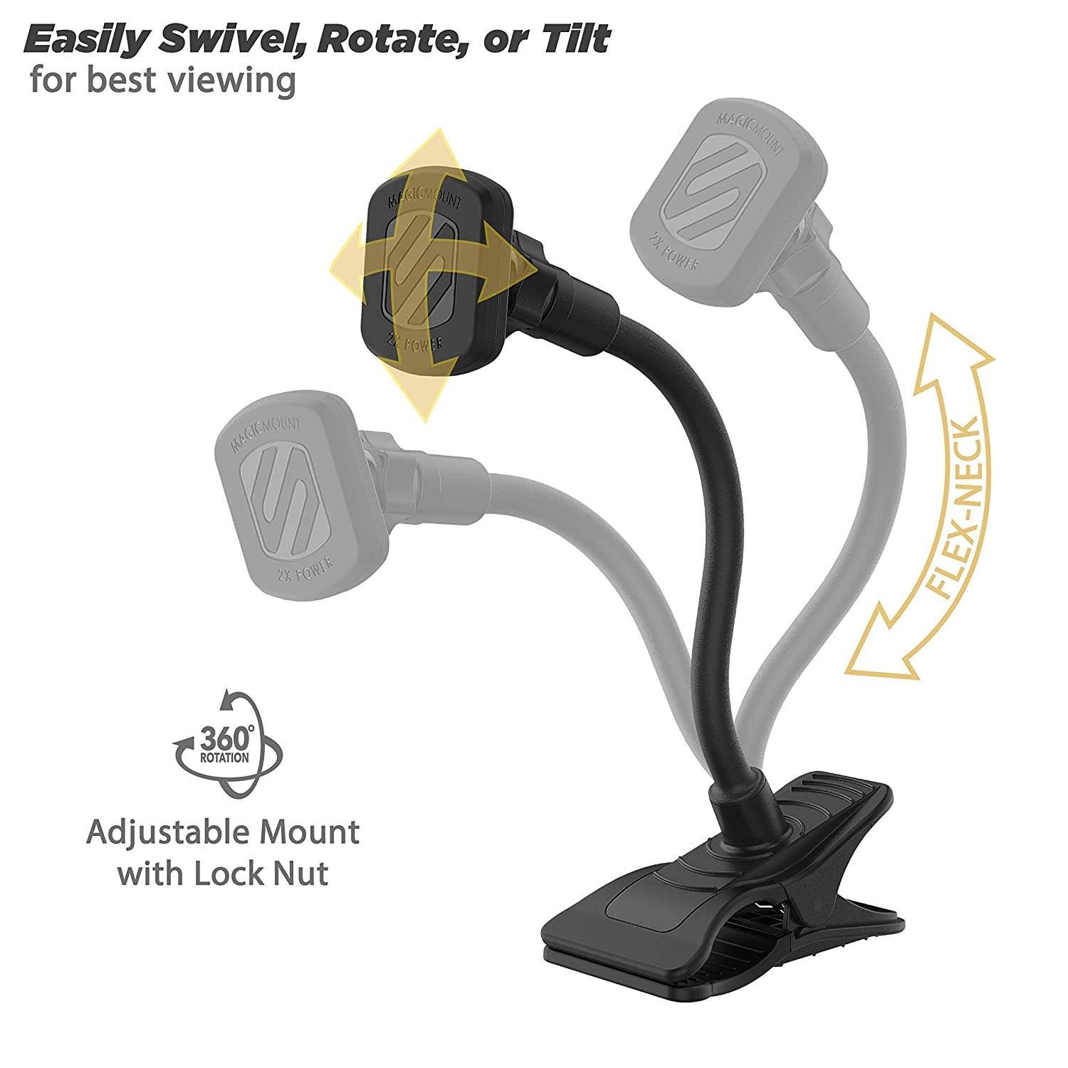 SCOSCHE MAGTHM2 MagicMount XL Universal Magnetic Phone//GPS//Tablet Headrest Mount for The Car