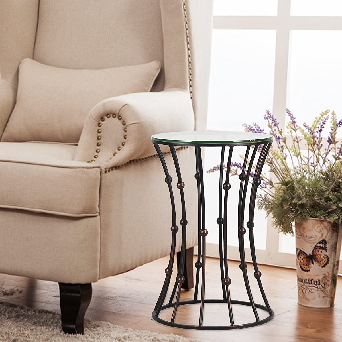 Joveco Brownish Black Accent Metal Curve Shaped Round End Table with Glass Top