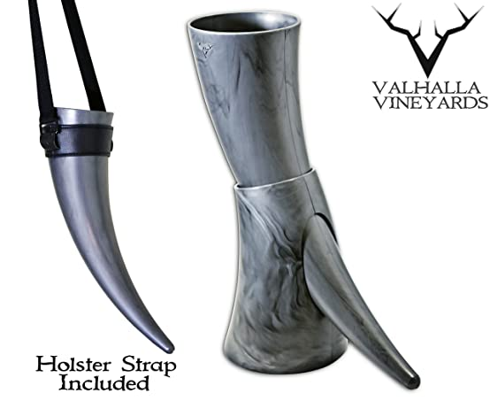 Viking Drinking Horn with stand - Medieval Inspired BPA Free Drinking Horn (16 oz)