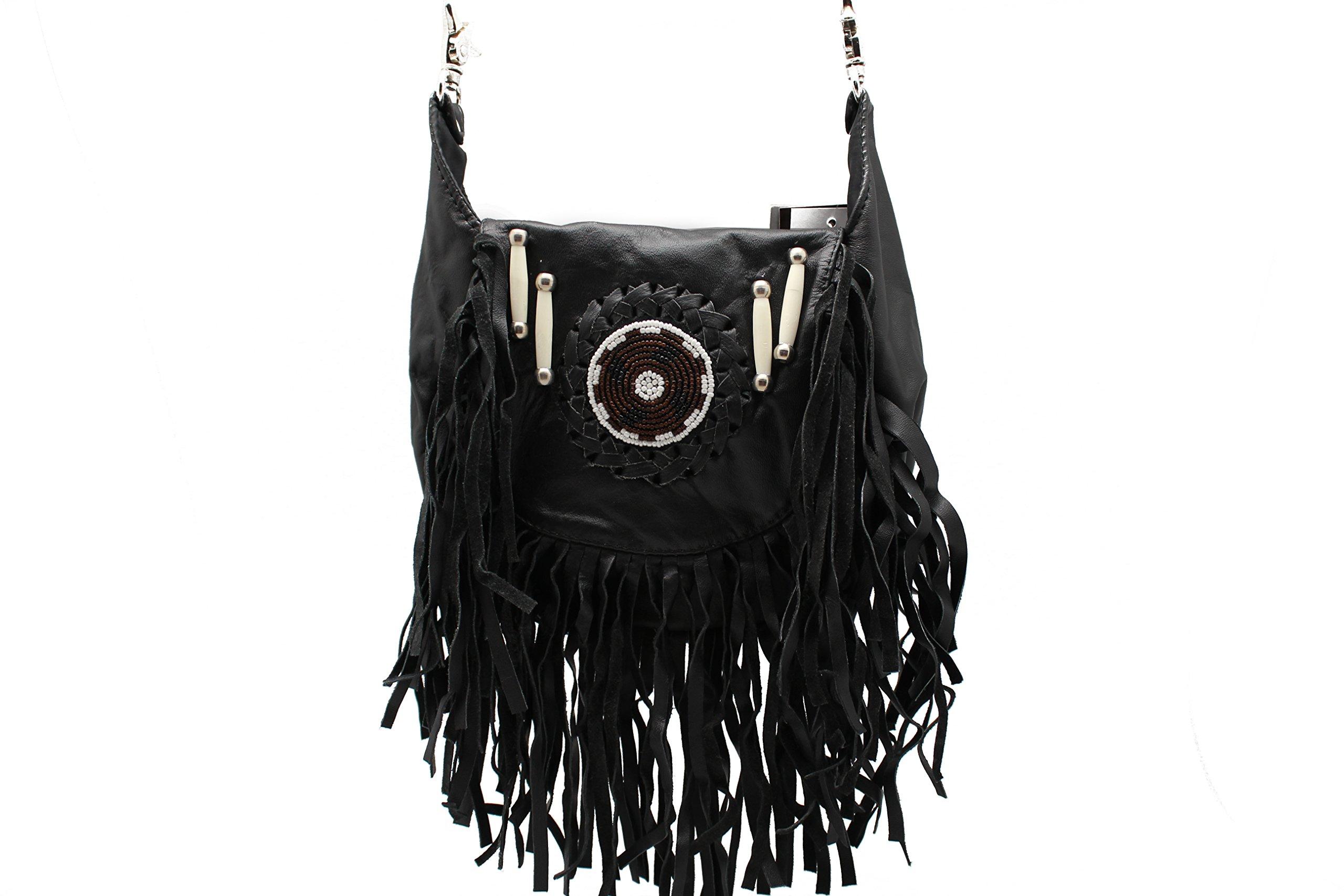 Black Fringe Loop Hip Pouch Red Indians Genuine Leather Boho Cross Body Hip Fanny Bag