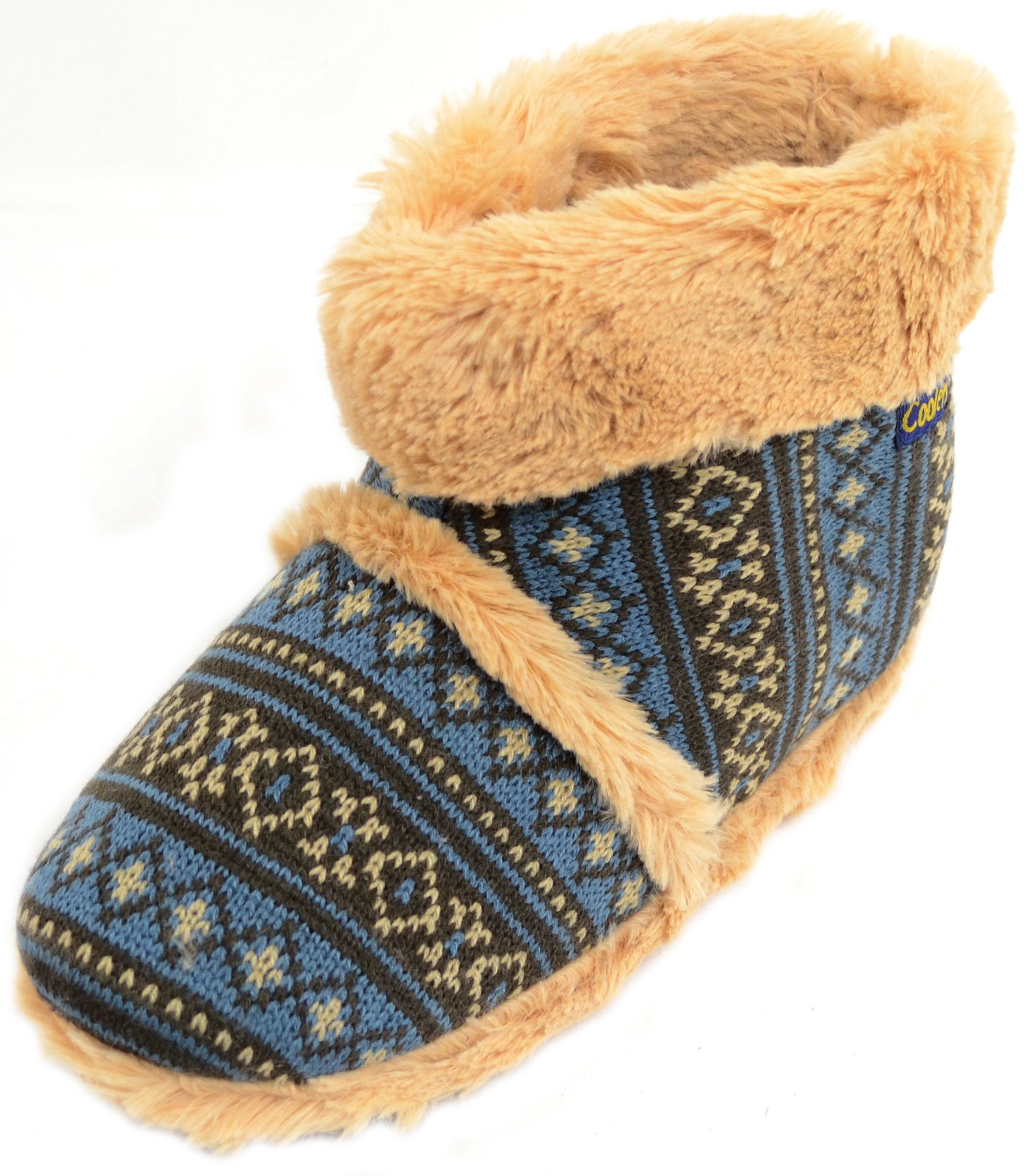 Mens Knitted Style Slipper Boots / Booties with Warm Faux Fur Lining and Cuff - Blue - 10 US