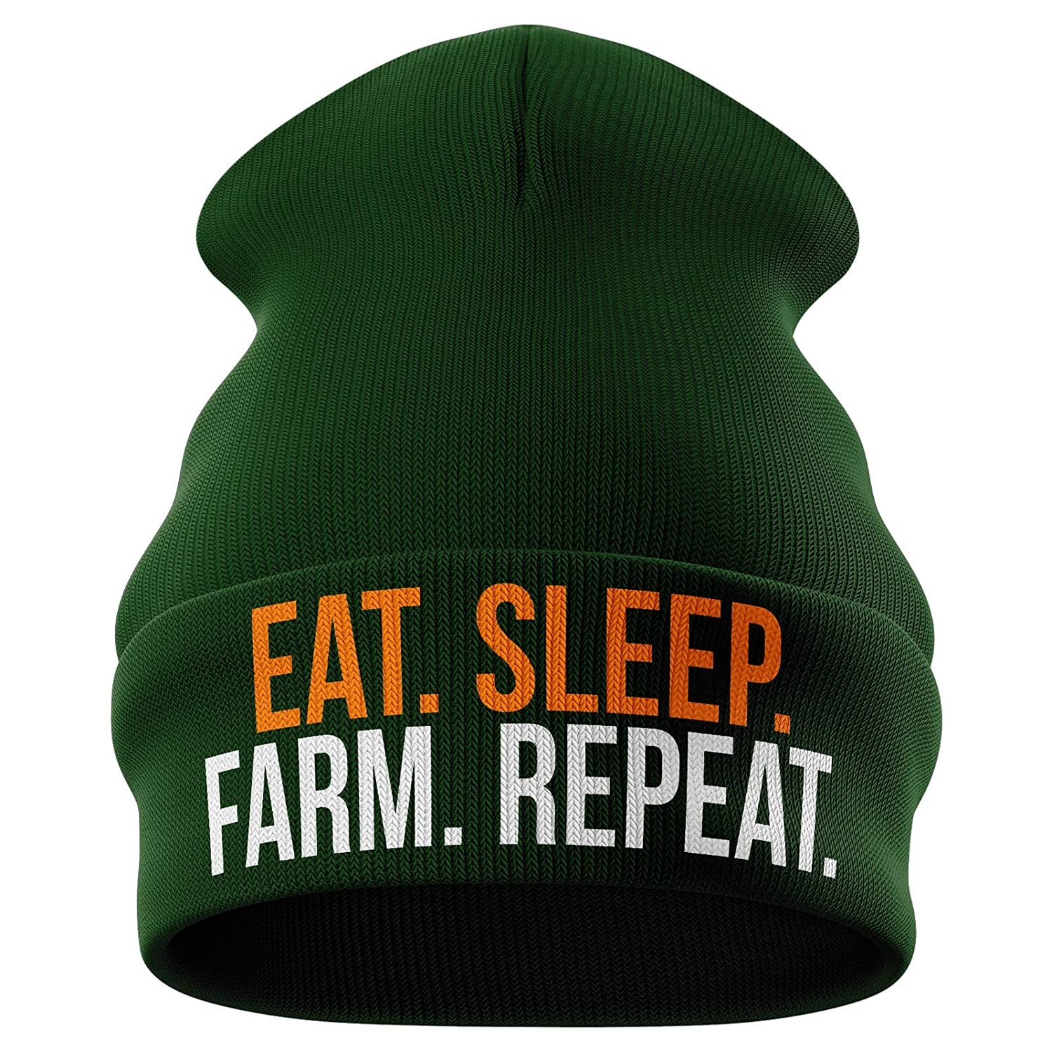 Purple Print House Farming Gifts - Eat Sleep Farm Repeat Funny Beanie Hat - Tractor Gifts Farmers Gifts