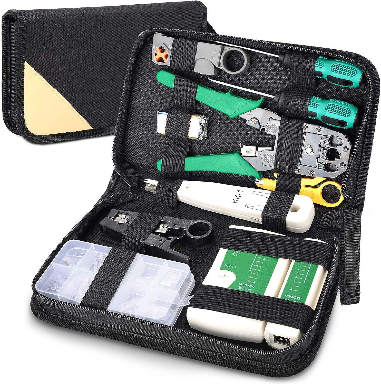 Comprobador de Cable de Red RJ45 Network Tool Kits Red Profesional Mantenimiento de la Computadora LAN Cable Tester 12 en 1 Herramientas de Reparación