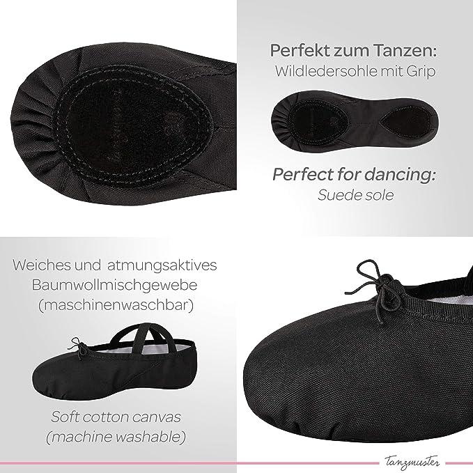 Blanc Rose-Abricot et Noir tanzmuster Demi-Pointes en Toile Dani Semelle enti/ère en Cuir 22-45 Danse Classique