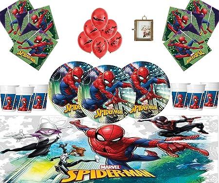 Marvel Spiderman Party Supplies Vajilla Infantil de cumpleaños Spiderman Decorations for 16- Spiderman Plates Globos de látex Marco DE Fotos Gratis & ...