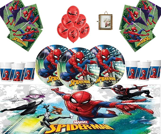 Marvel Spiderman Party Supplies Vajilla Infantil de cumpleaños Spiderman Decorations for 16- Spiderman Plates Globos de látex Marco DE Fotos Gratis & ...