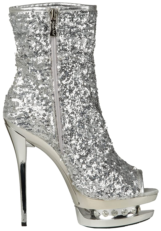 The Highest Heel Women's Diamond-31 Boot B0053OBE62 5 B(M) US Silver Sequins
