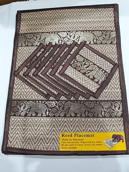 Juego de 6 de seda tailandesa elefante tejida paja Reed manteles individuales y posavasos, hecho