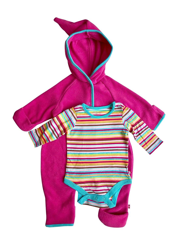 Fuschia, 12 Months Baby Girl Hooded Fleece Bodysuit Elf Romper with Fold Over Cuffs /& Long Sleeve Snap Onesie Set