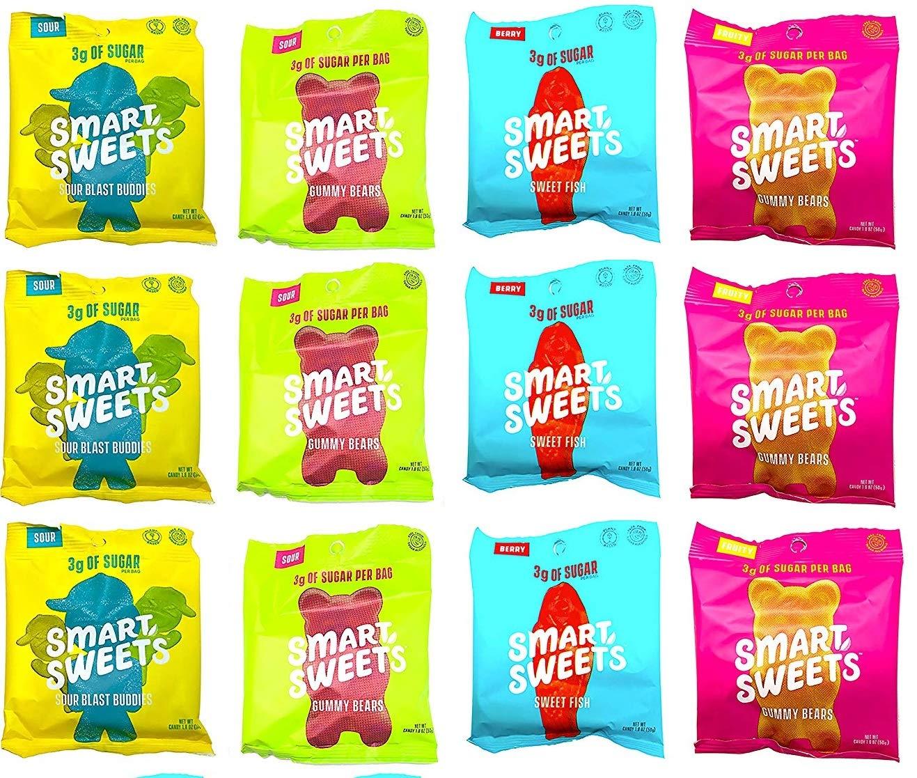 12 Pack Variety Keto-Friendly Gummy Bears - Stevia Sweetened Fruity Gummy Bears, Sour Gummy Bears, Sweet Fish, Sour Buddies, Low Sugar, Low Carbs (1.8 Ounce)