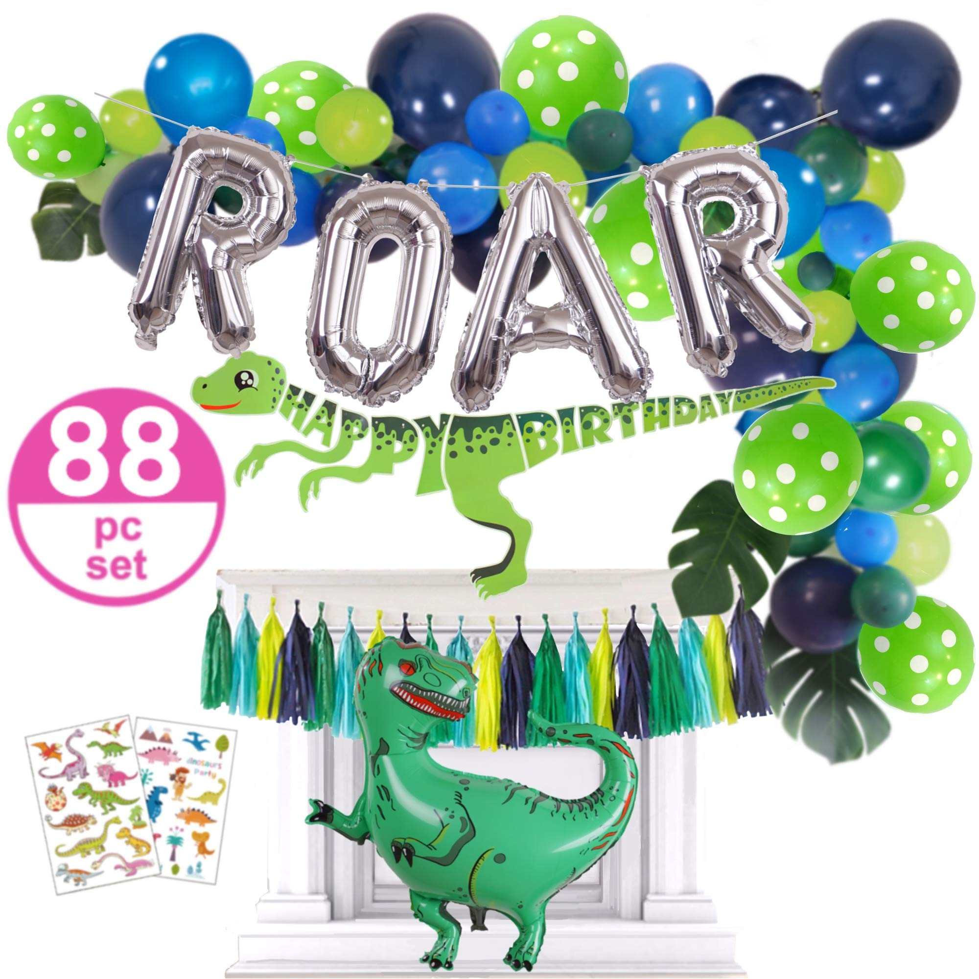 Dinosaur Party Supplies - 88pc Dinosaur Party Decorations Set for Boys Toddlers - Jungle Theme Balloon Garland, Blow Up T Rex & ROAR, Happy Birthday Banner by Emuya