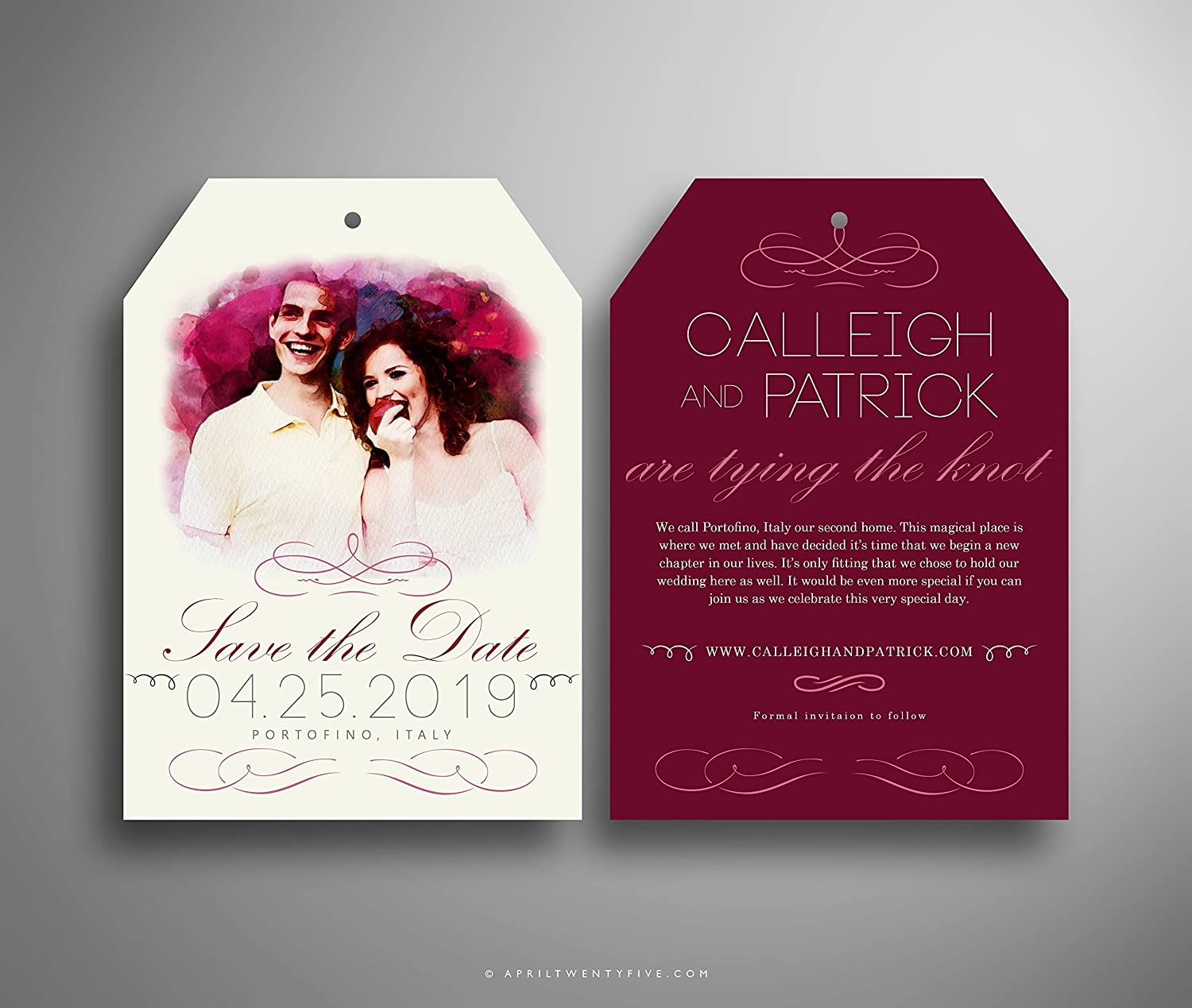 Amazon.com: CALLEIGH Luggage Tag Shaped Save the Date Card with ...