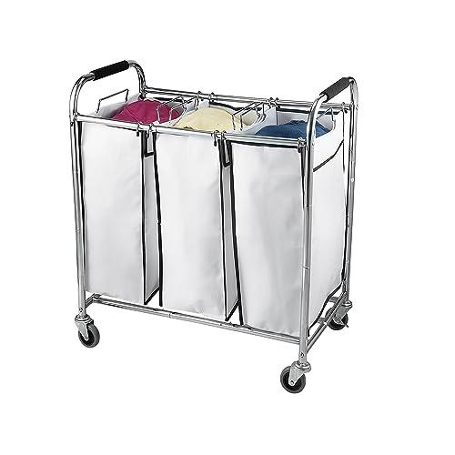 laundry hamper on wheels crate saganizer hamper with wheels rolling cart heavy duty triple laundry organizersorter chrome basket wheels amazonca