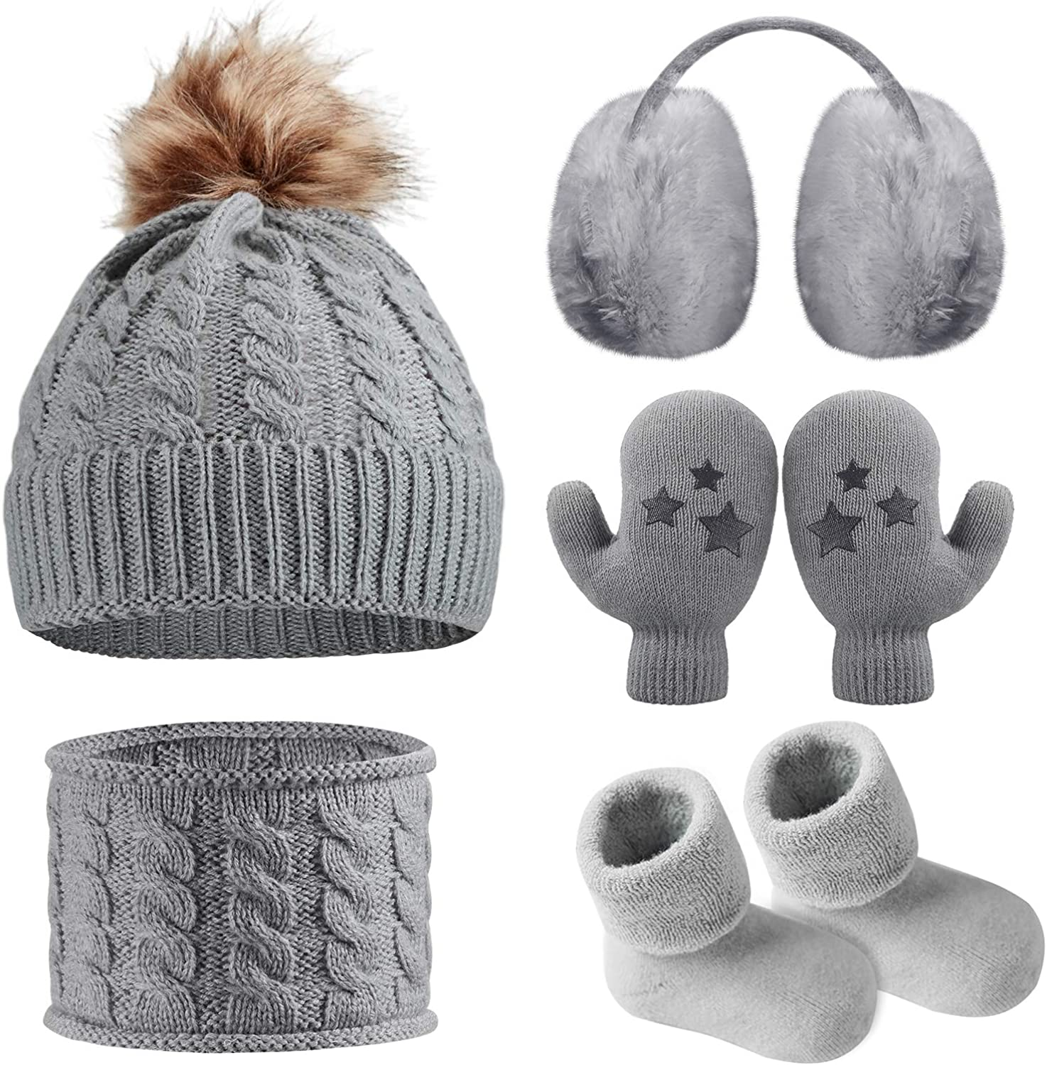 4 Pieces Kids Beanie Hat Scarf Gloves Socks Set Knit Winter Warm Set for Toddler